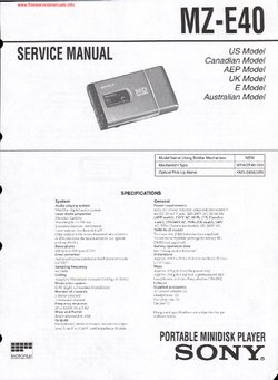 Sony MZ-E40 Free service manual pdf Download