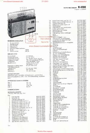 Philips N4200 RECORDER Free service manual pdf Download