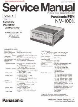 Panasonic NV-100 PART1 NV-V10 NV-B11 NV-A13-E Free service