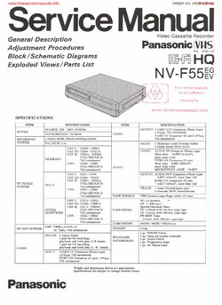 Panasonic NV-F55 Free service manual pdf Download
