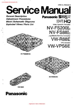 Panasonic NV-FS200 NV-FS88 VW-R88E VW-VPS6E Service Manual
