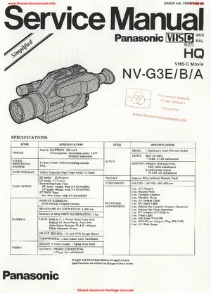 Panasonic NV-G3E NV-G3B NV-G3A SIMPLIFIED Free service
