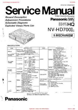 Panasonic NV-HD700 Service Manual PDF Free Download