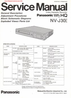 Panasonic NV-J30 Free service manual pdf Download