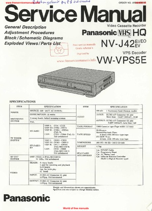 Panasonic NV-J42 VW-VPS5E Free service manual pdf Download
