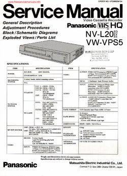 Panasonic NV-L20 VW-VPS5 Free service manual pdf Download
