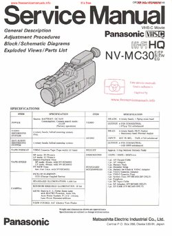 Panasonic NV-MC30 Free service manual pdf Download