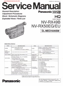 Panasonic NV-RX49 NV-RX50 Free service manual pdf Download