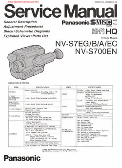 Panasonic NV-S7 NV-S700 Free service manual pdf Download