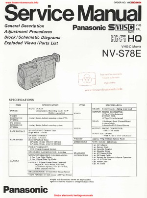 Panasonic NV-S78E Free service manual pdf Download
