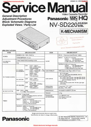 Panasonic NV-SD220 Free service manual pdf Download