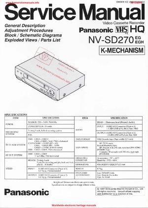 Panasonic NV-SD270 Free service manual pdf Download