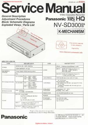 Panasonic NV-SD300 Free service manual pdf Download