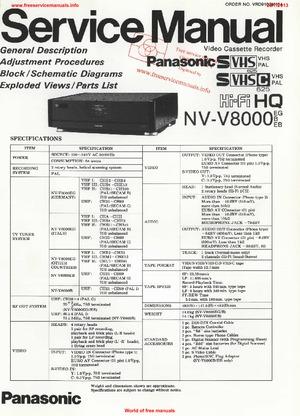 Panasonic NV-V8000 Free service manual pdf Download
