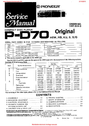 Pioneer P-D70 Free service manual pdf Download