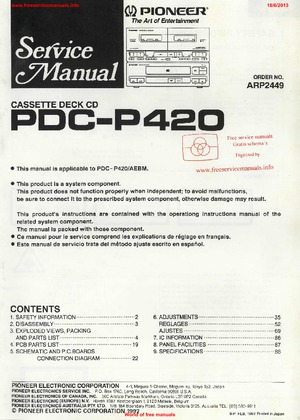 Pioneer PDC-P420 Free service manual pdf Download