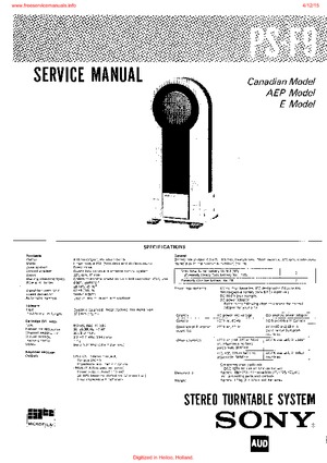 Sony PS-F9 Free service manual pdf Download
