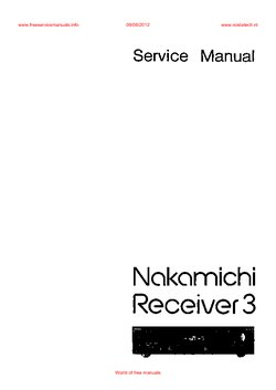 Nakamichi RECEIVER 3 Free service manual pdf Download