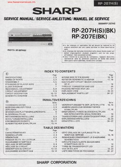 SHARP RP-207H RP-207E Free service manual pdf Download