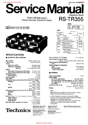 Technics RS-TR355 Free service manual pdf Download