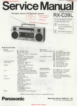Panasonic RX-C39L Service Manual PDF Free Download