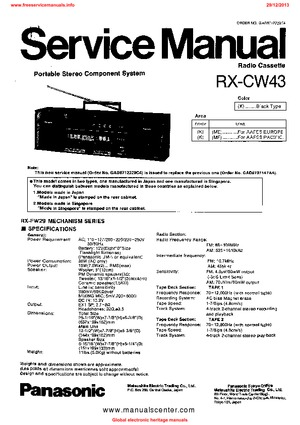 Panasonic RX-CW43 Free service manual pdf Download