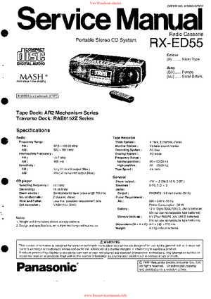 Panasonic RX-ED55 Free service manual pdf Download