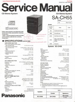 Panasonic SA-CH55 Free service manual pdf Download