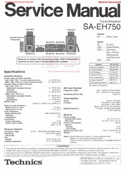 Technics SA-EH750 Free service manual pdf Download