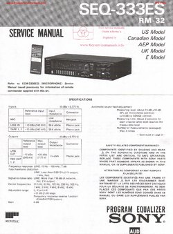 Sony SEQ-333ES Free service manual pdf Download