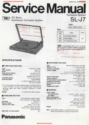 Panasonic SL-J7 Free service manual pdf Download