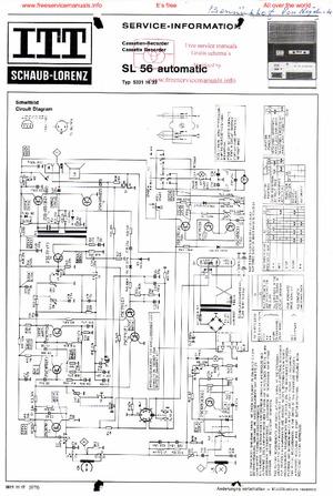 Itt Schaub-Lorenz SL56 AUTOMATIC Free service manual pdf