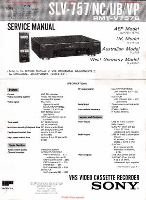 Sony SLV-757 SLV-757NC SLV-757UB SLV-757VP Free service
