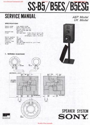 Sony SS-B5 SS-B5ES SS-B5ESG Free service manual pdf Download