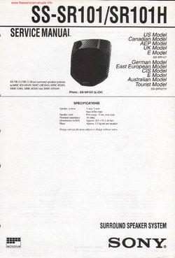 Sony SS-SR101 SS-SR101H Free service manual pdf Download