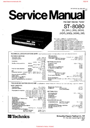 Technics ST-8080 Service Manual PDF Free Download