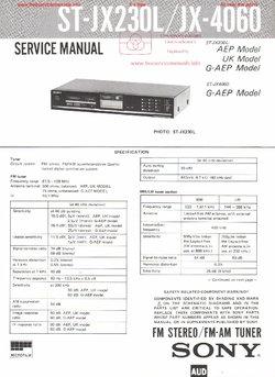 Sony ST-JX230L JX-4060 Free service manual pdf Download