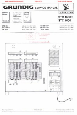 Grundig STC 1600 STC 1600/0 Free service manual pdf Download