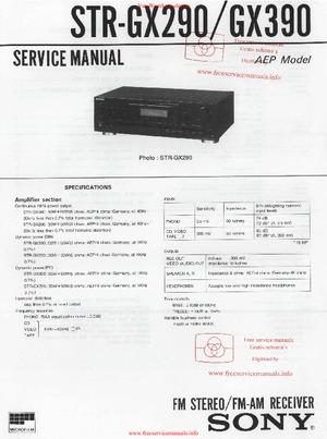 Sony STR-GX290 STR-GX390 Free service manual pdf Download