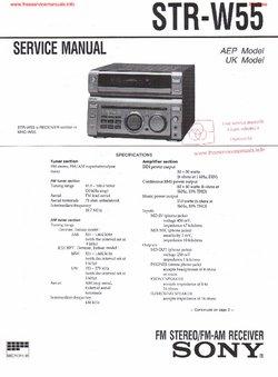 Sony STR-W55 Service Manual PDF Free Download