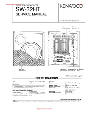 Kenwood SW-32HT Free service manual pdf Download