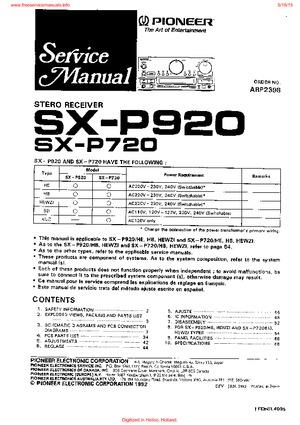 Pioneer SX-P920 SX-P720 Free service manual pdf Download