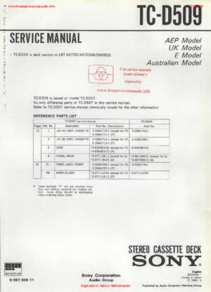 Sony TC-D509 free Sony service manual Service Manual PDF