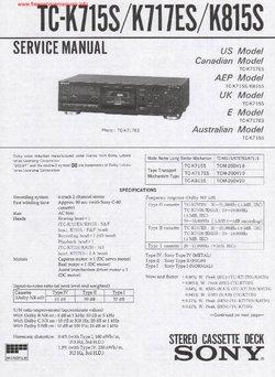 Sony TC-K715S TC-K717ES TC-K815S Free service manual pdf