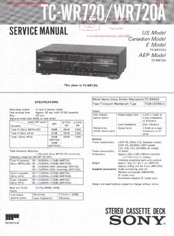 Sony TC-WR720 TC-WR720A Free service manual pdf Download