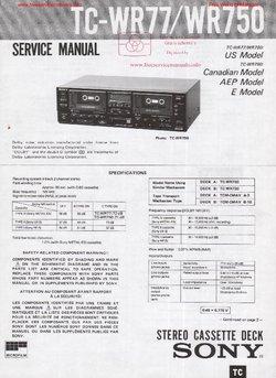 Sony TC-WR77 TC-WR750 Free service manual pdf Download