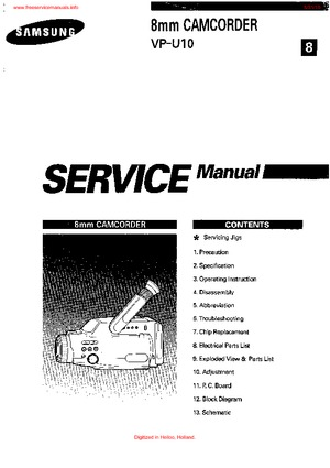 Samsung VP-U10 Service Manual PDF Free Download