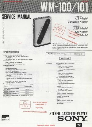 Sony WM-100 WM-101 Service Manual PDF Free Download