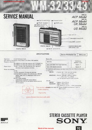 Sony WM-32 WM-33 WM-43 Free service manual pdf Download