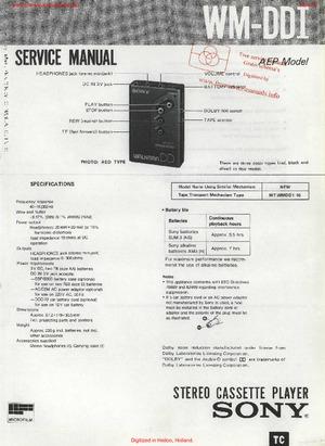 Sony WM-DD1 Service Manual PDF Free Download